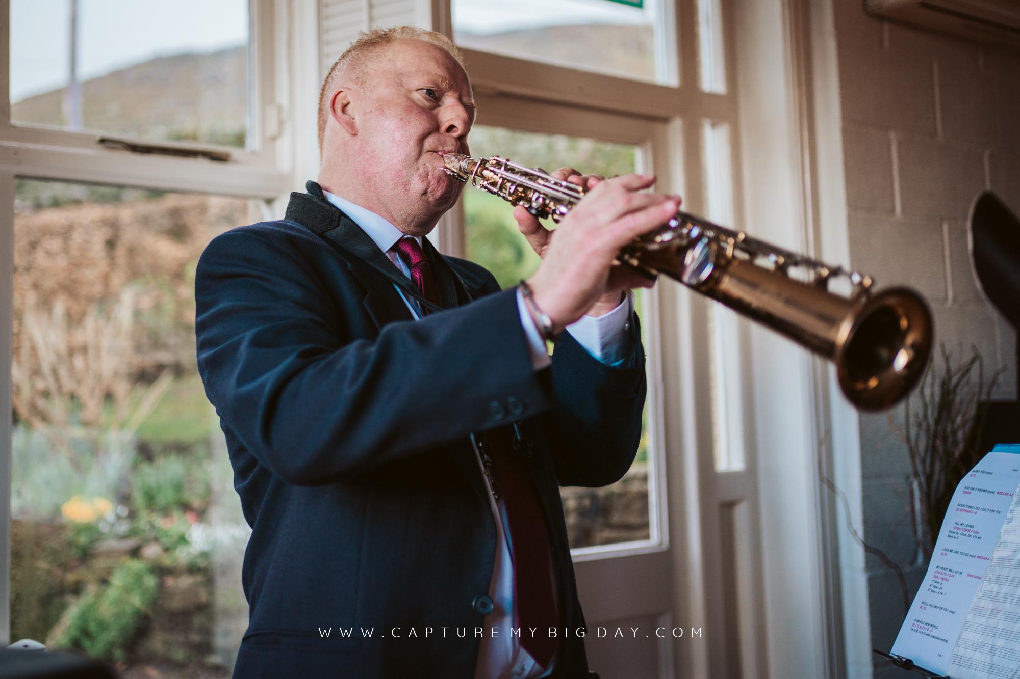 saxophone player at wedding