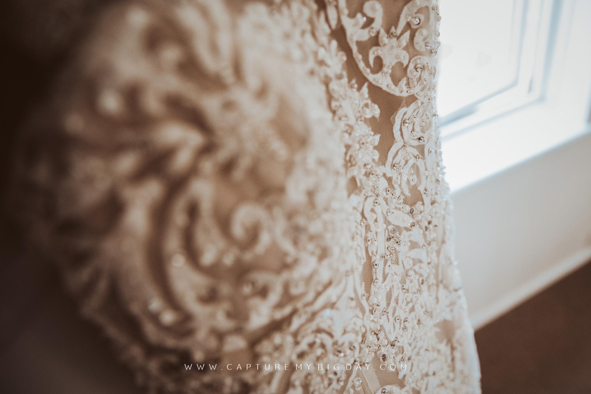 close up of wedding dress
