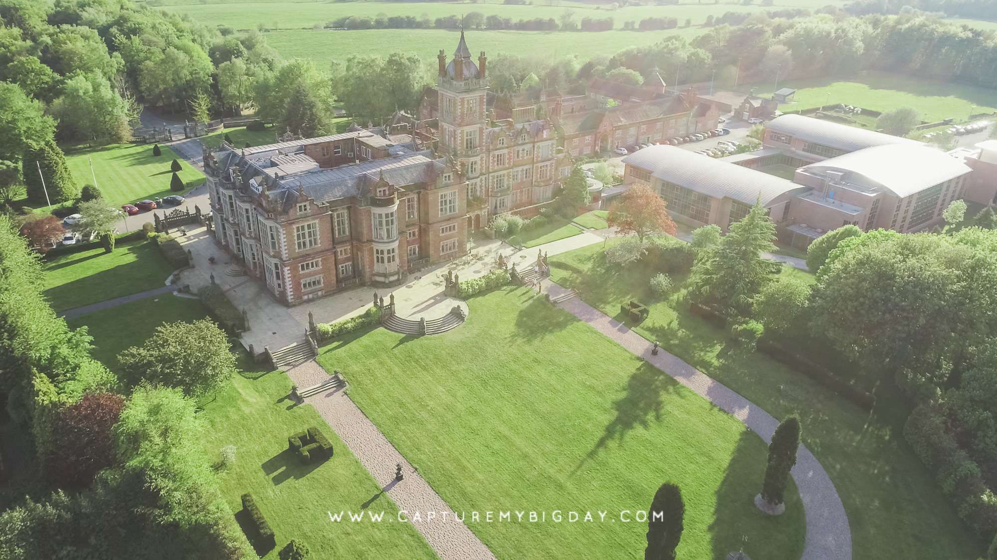 Drone image of Crewe Hall