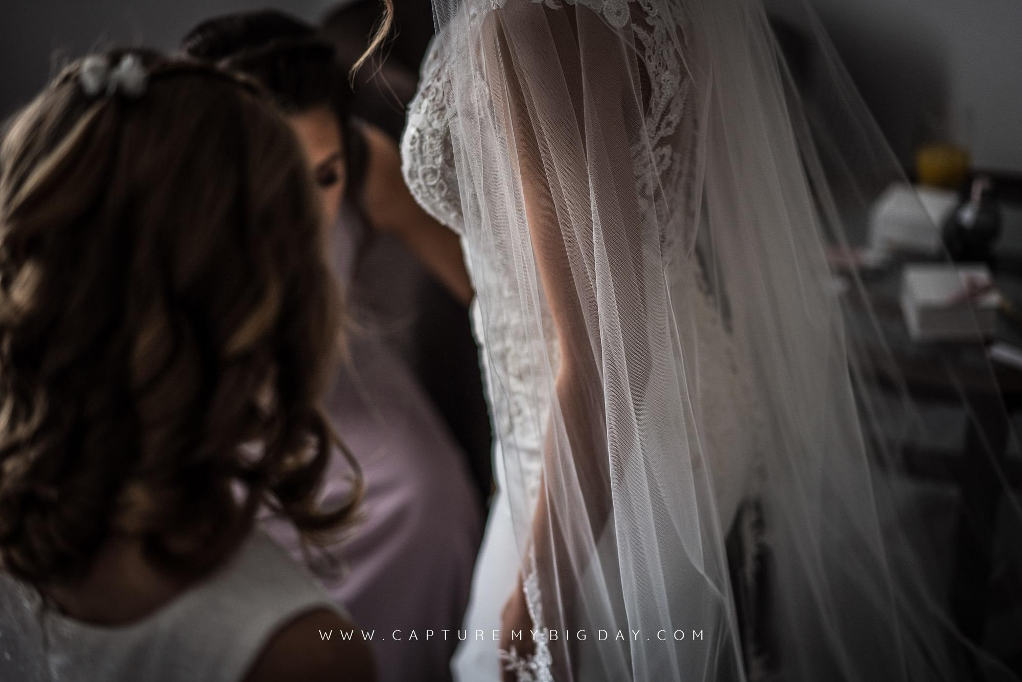 bride in wedding dress with veil