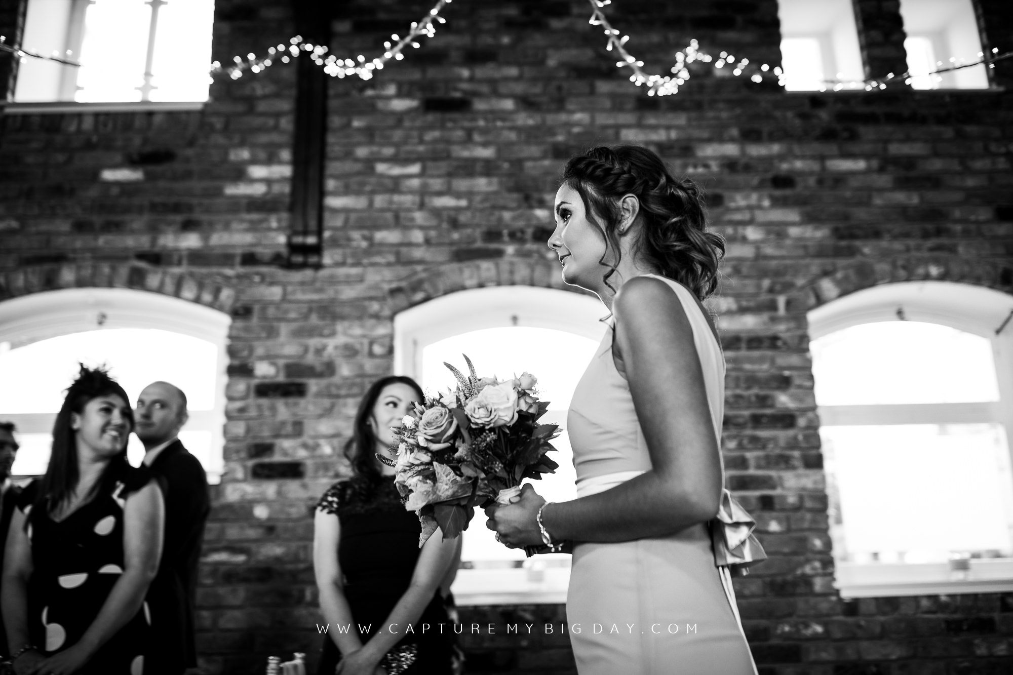 bridesmaids in the aisle
