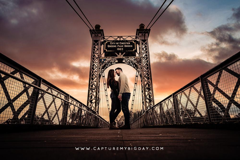 Engagement photograph on Chester bridge