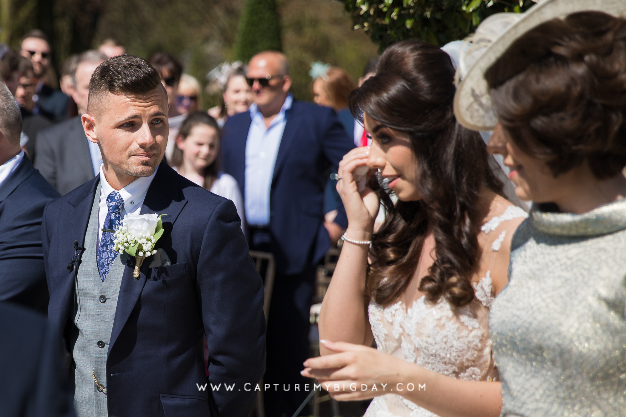 bride crying at ceremony