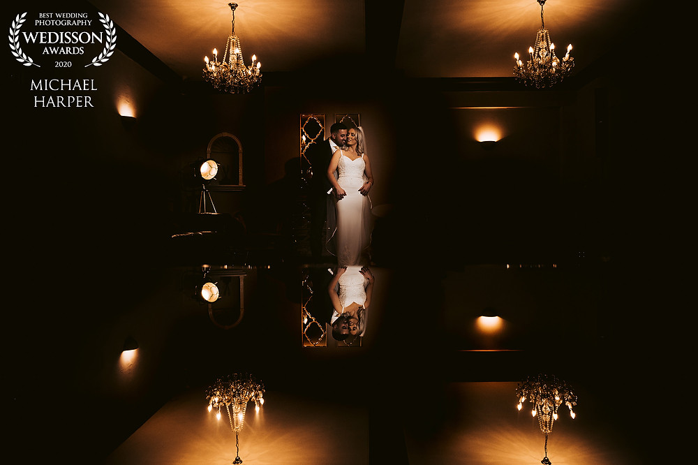 Bride and groom reflection image