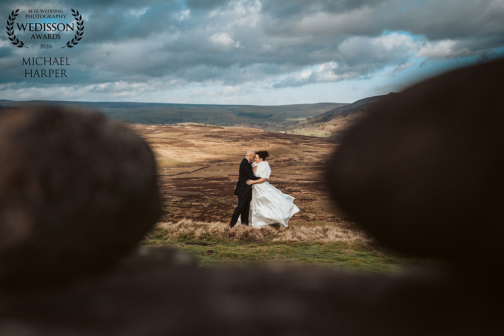Bride and groom on the Yorkshire Moors