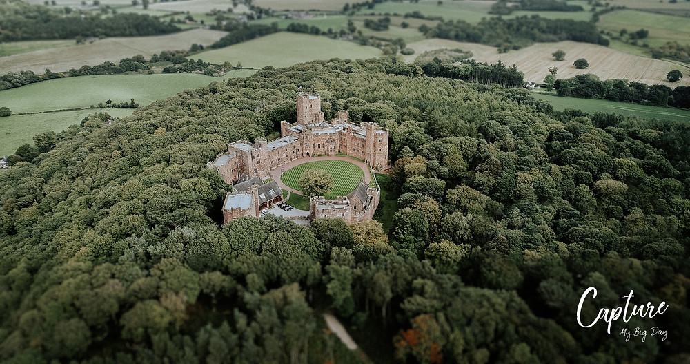 Drone image of Peckforton Castle