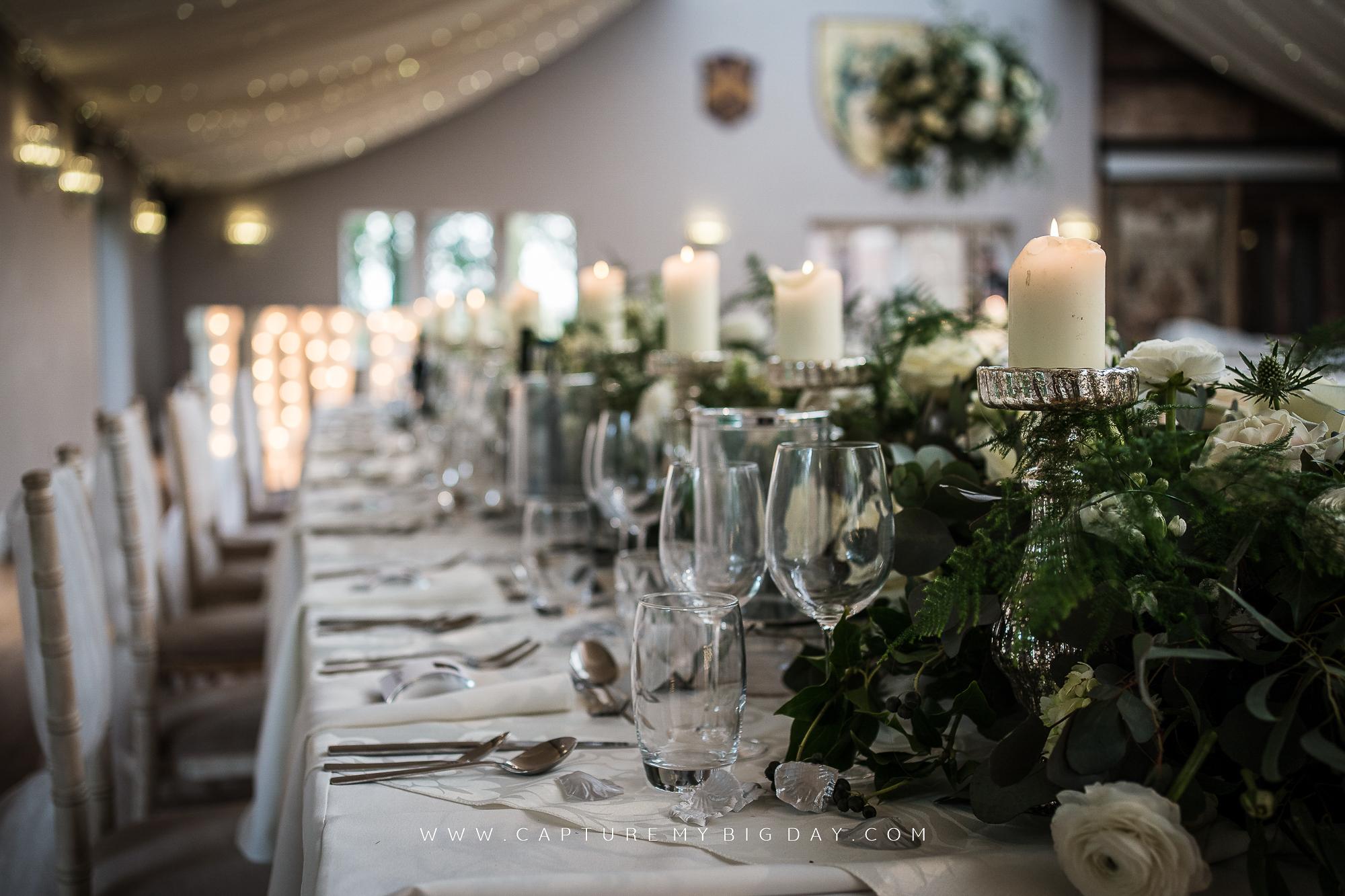 Wedding breakfast in the Orangery at Wrenbury Hall