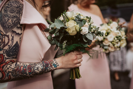 bridesmaid with tattoos
