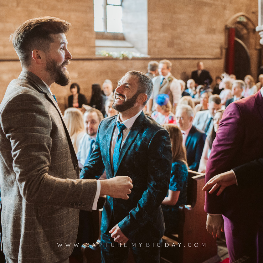 groom waiting at the church