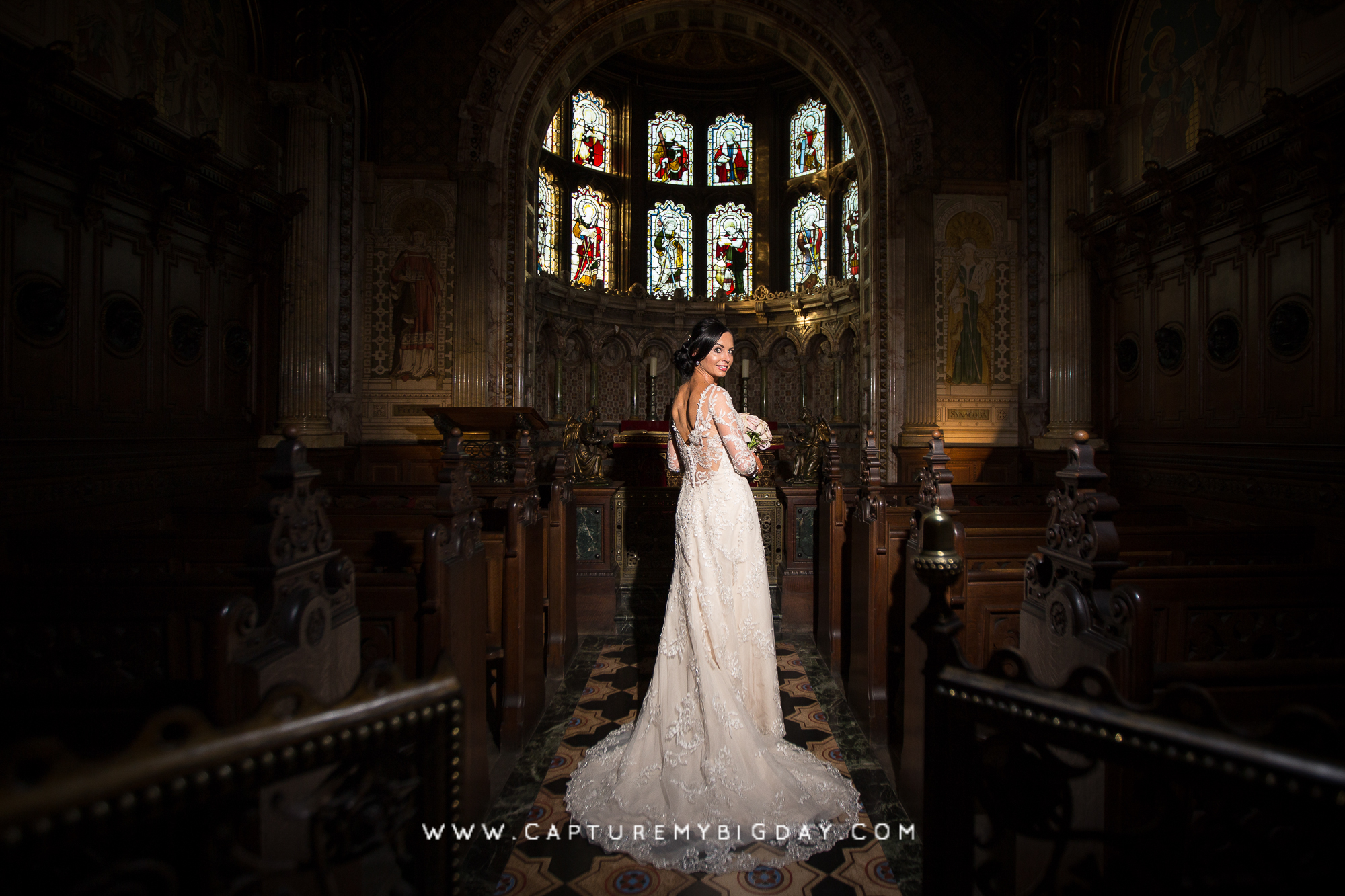 Bride at alter in Crewe hall