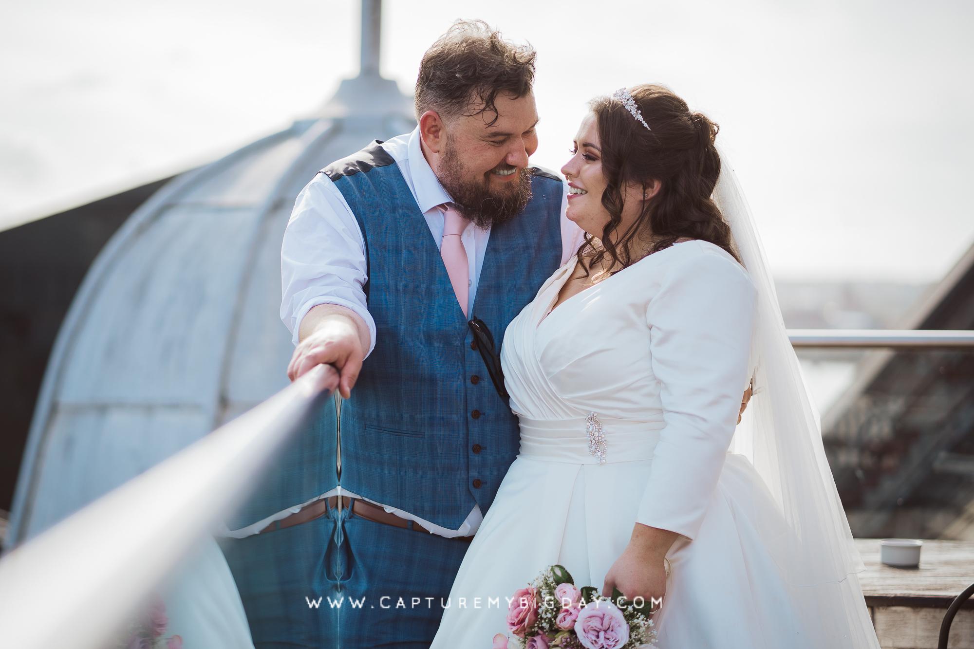 bride and groom top of 30 James street