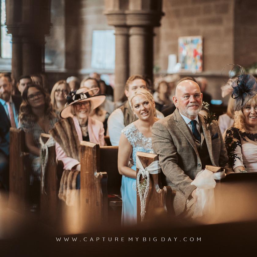 wedding guests in church