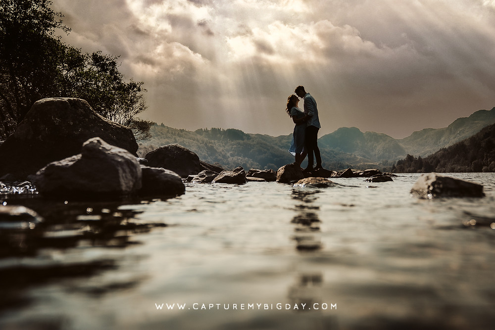 Engagement photograph by the lake