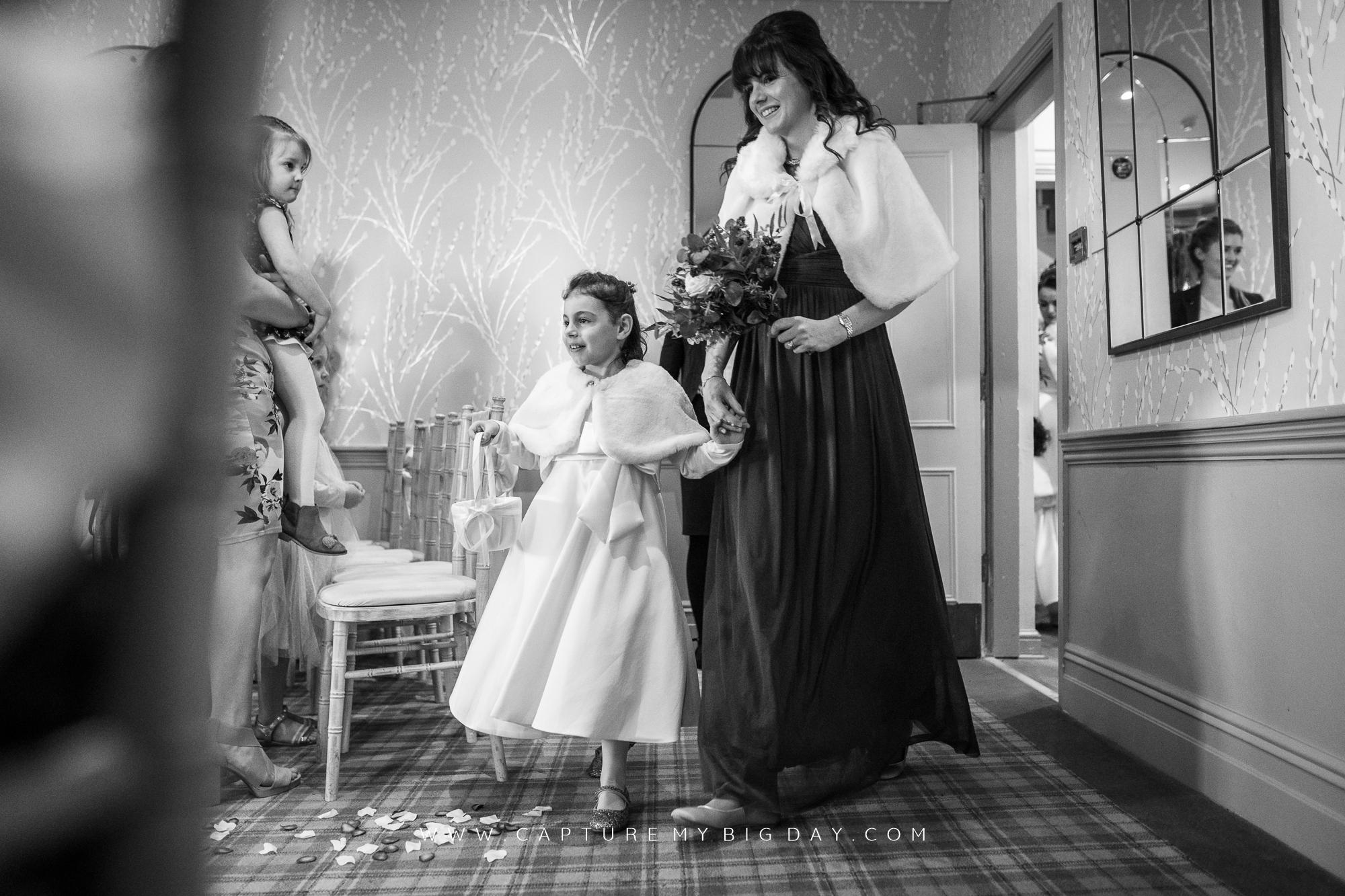 bridesmaid down aisle