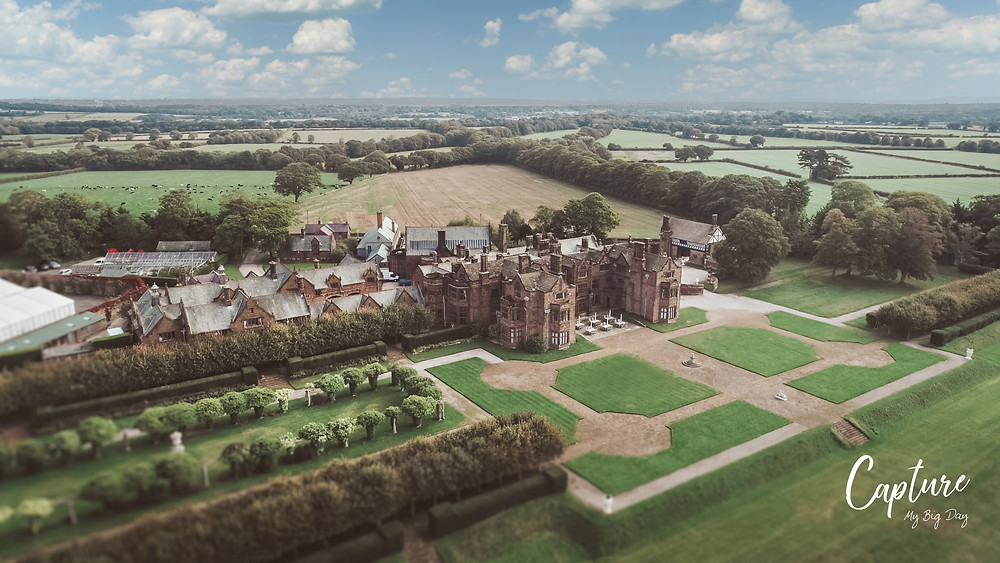 Drone image on a summer's day of the Thornton Manor Estate