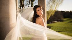 Brides veil in wind