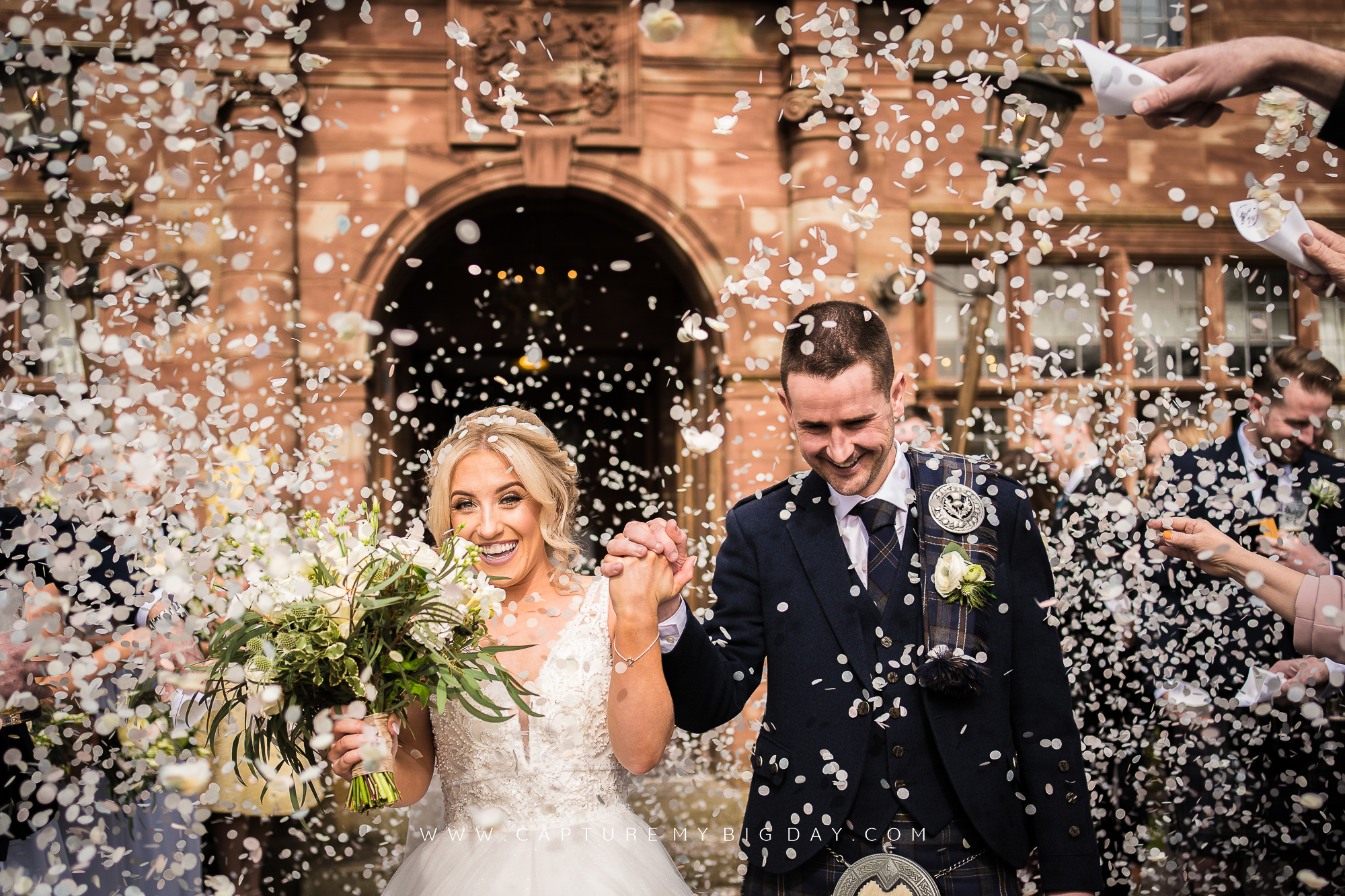 Confetti at Wrenbury Hall on Bride and groom