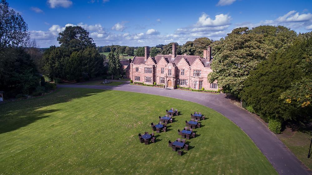 Drone image of Cheshire venue Wrenbury Hall