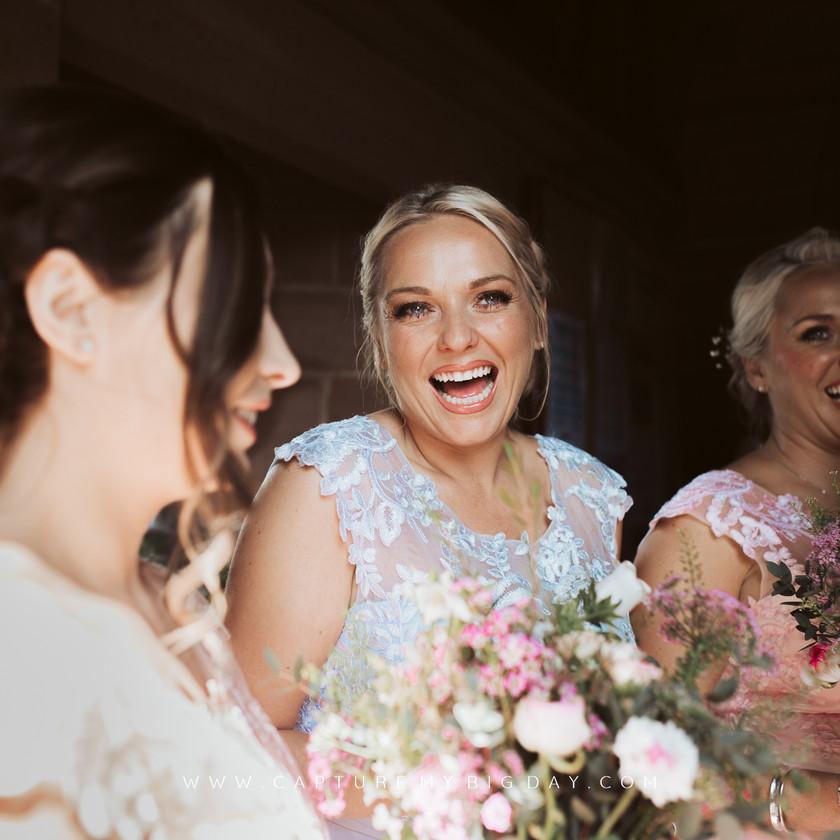 bridesmaids at the church