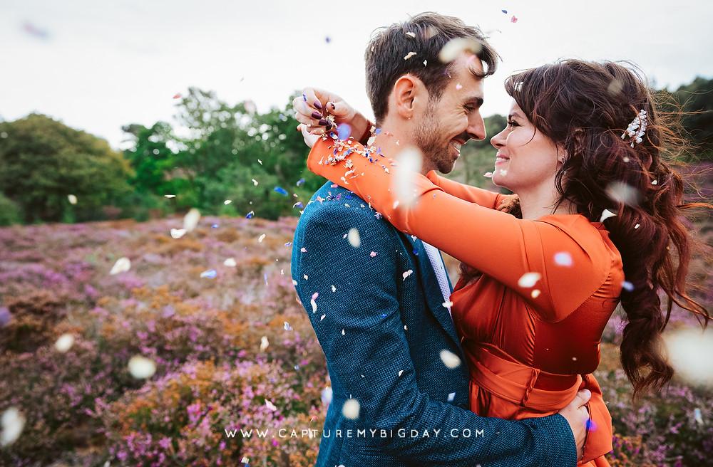 Confetti engagement photoshoot