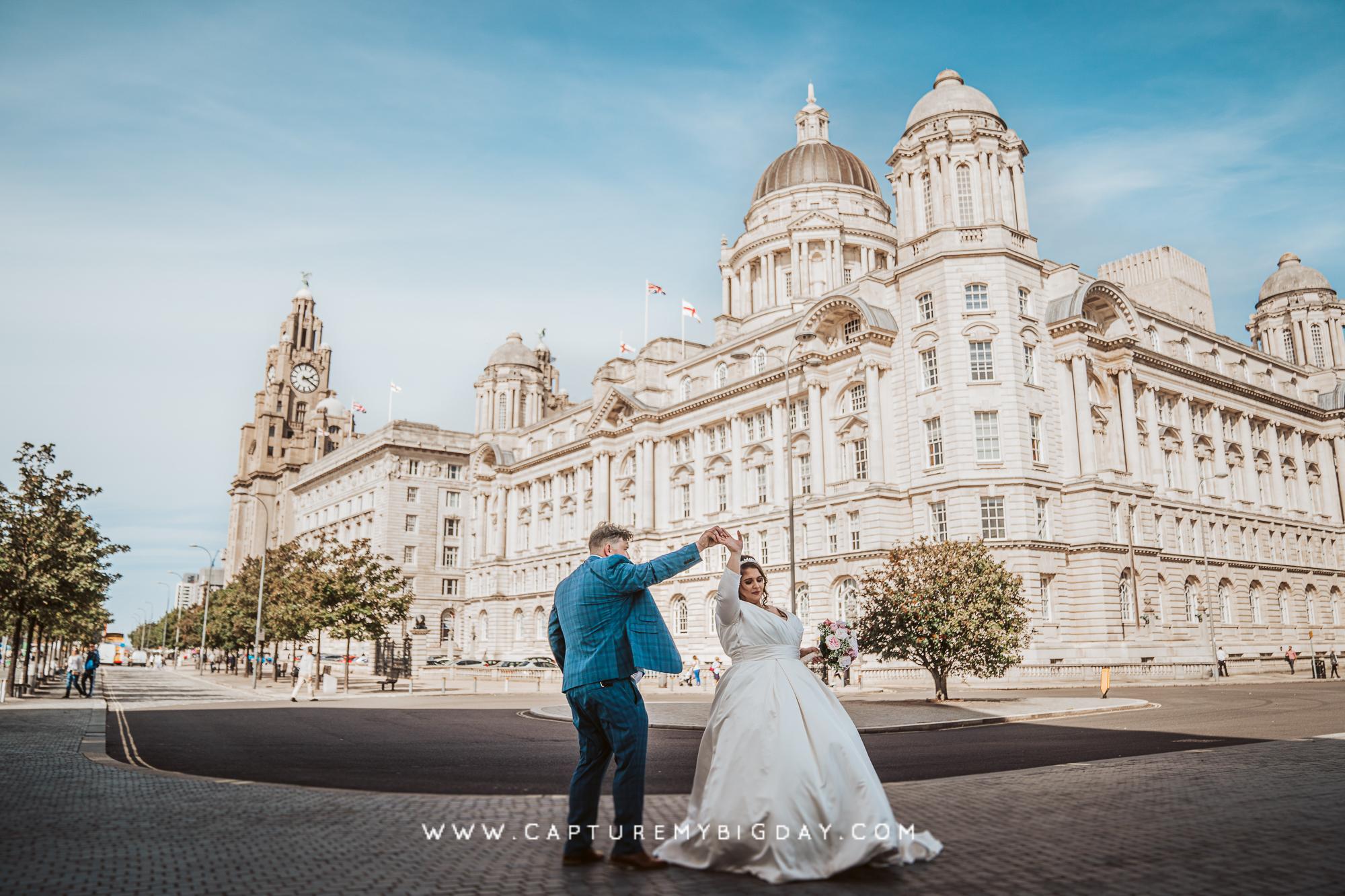 bride and groom dancing outside 30 James street
