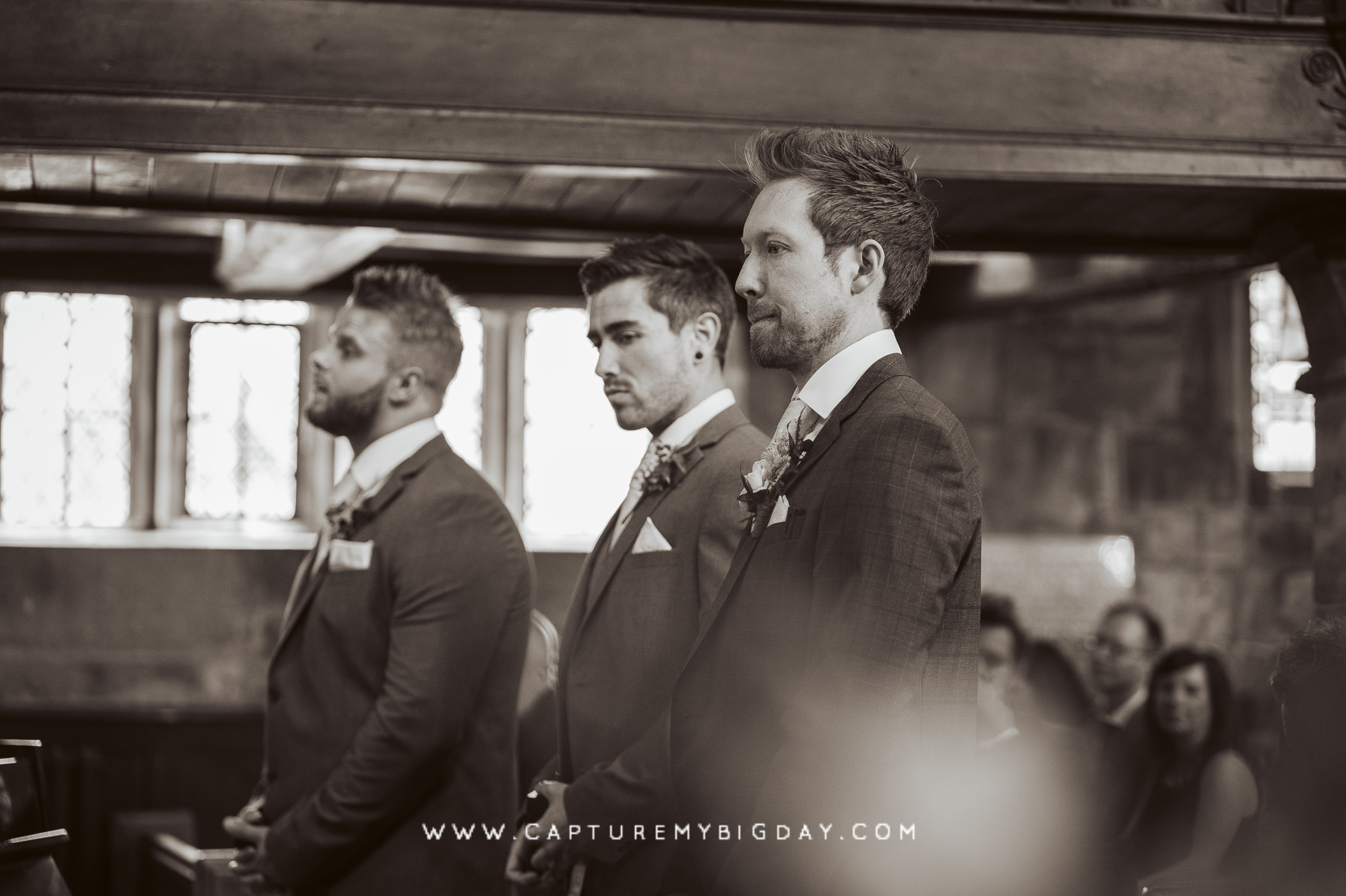 Groom in church waiting for bride