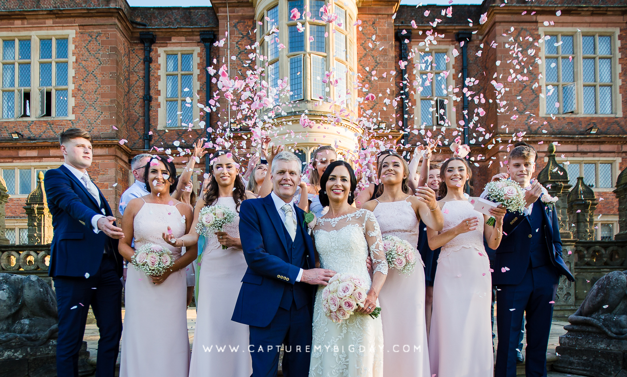 Confetti shot outside Crewe Hall
