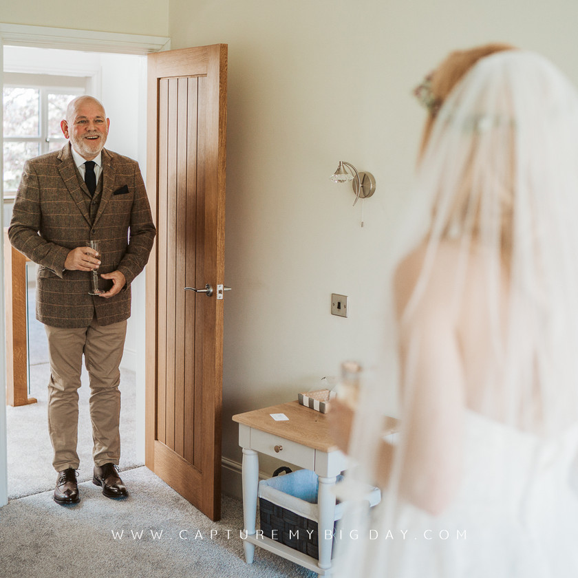 father of the bride seeing the bride in her dress