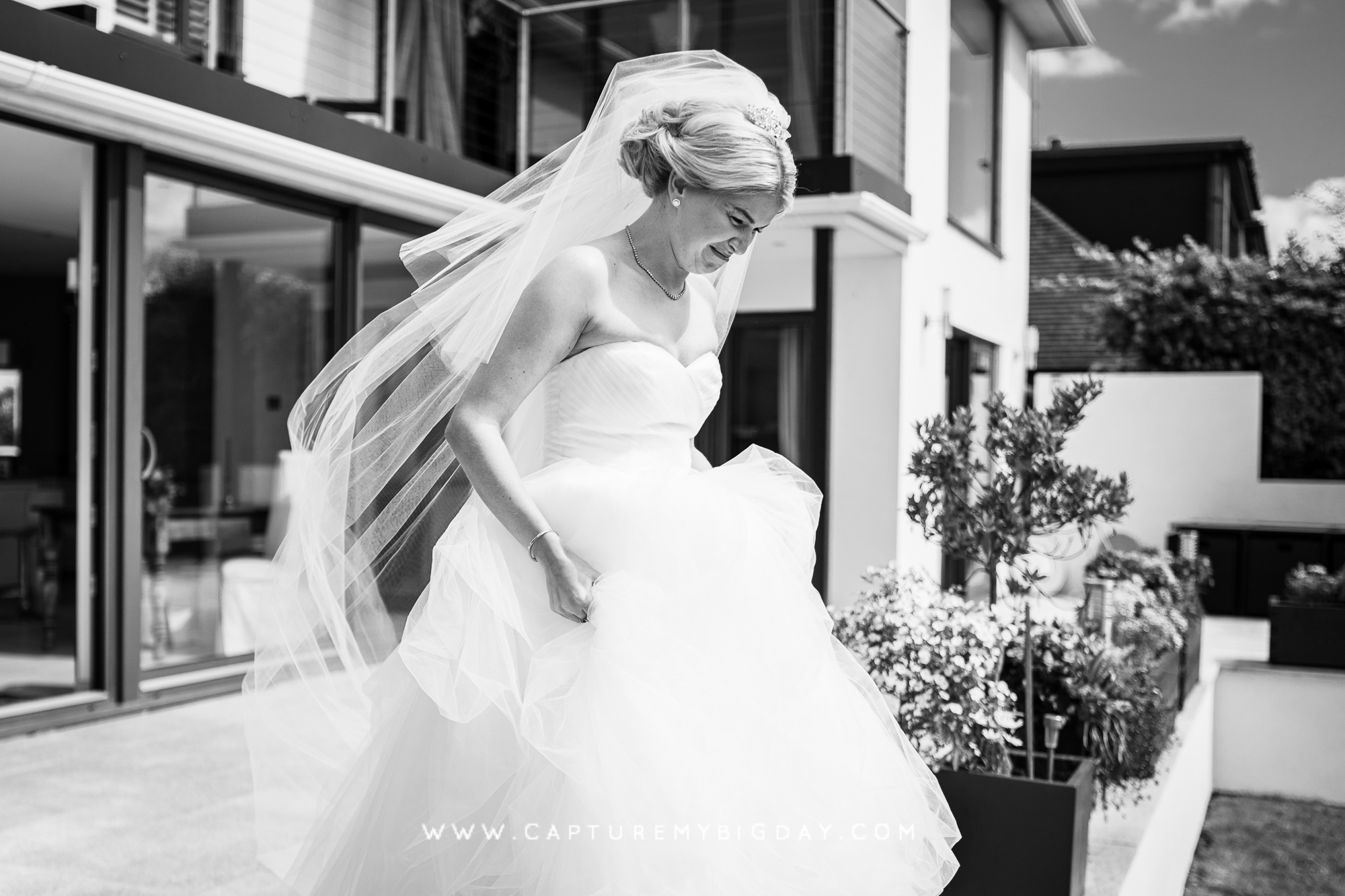 Bride walking to her father