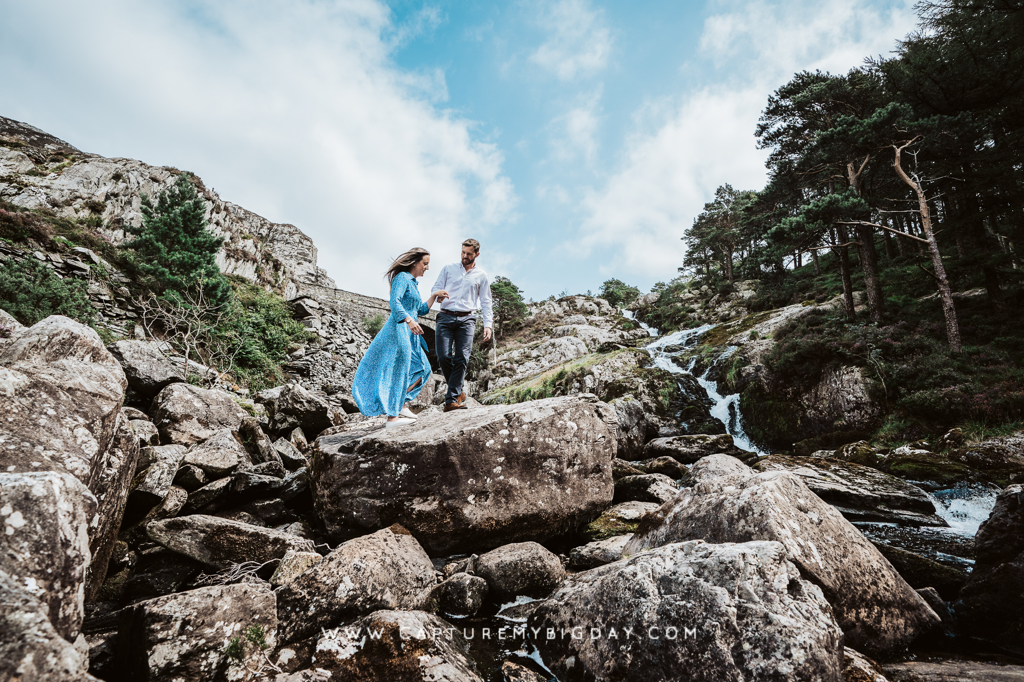 Engagement photograph at a waterfall