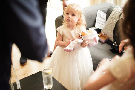 flower girl with doll