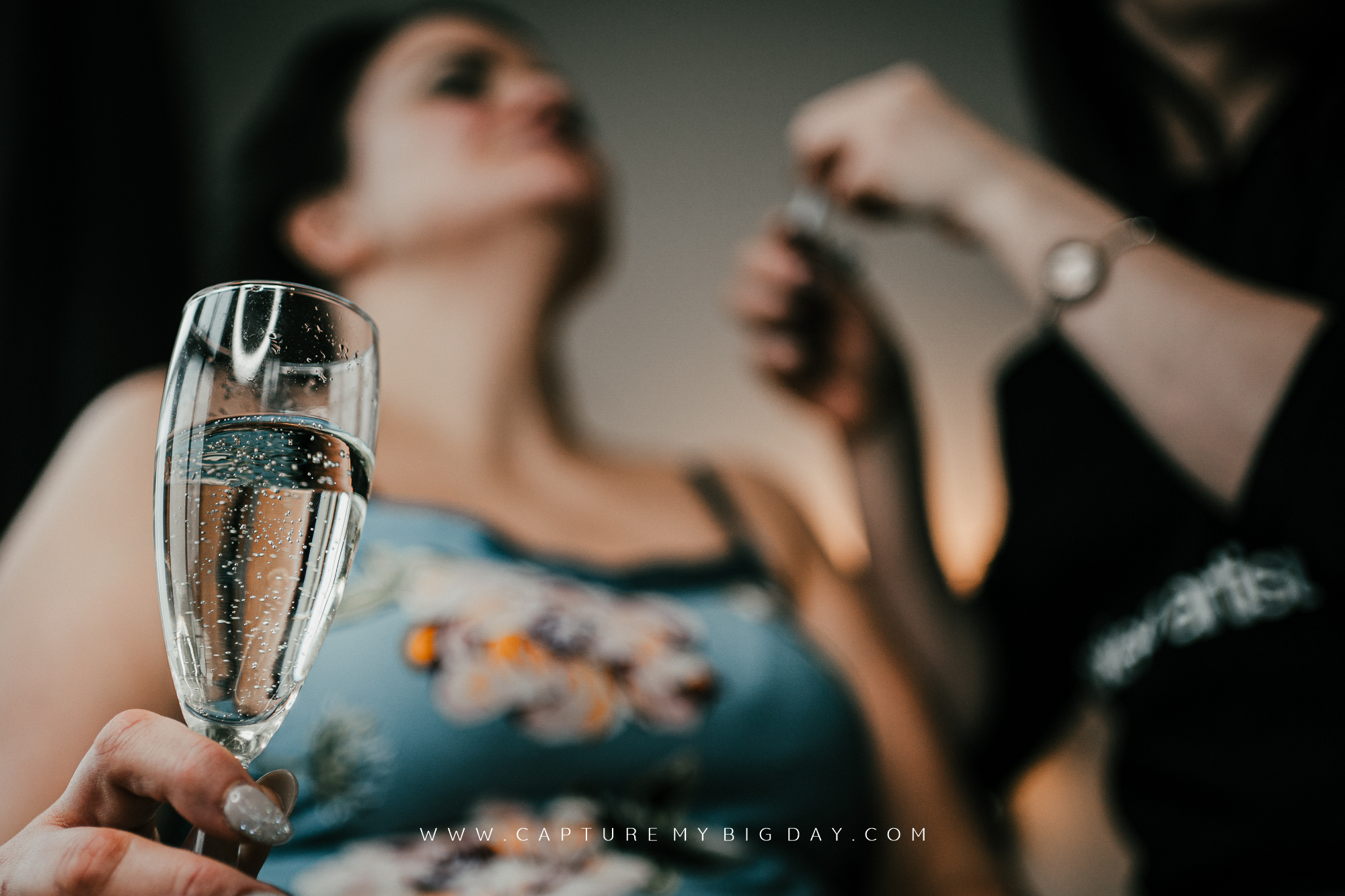 Champagne glass with bride