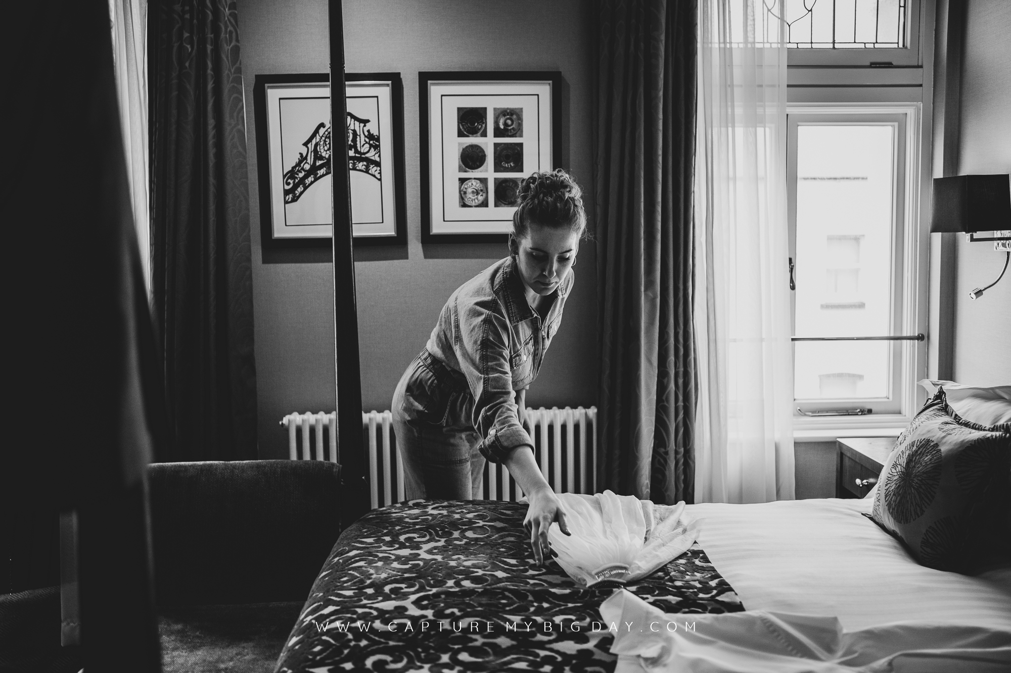 Bride getting ready in hotel room
