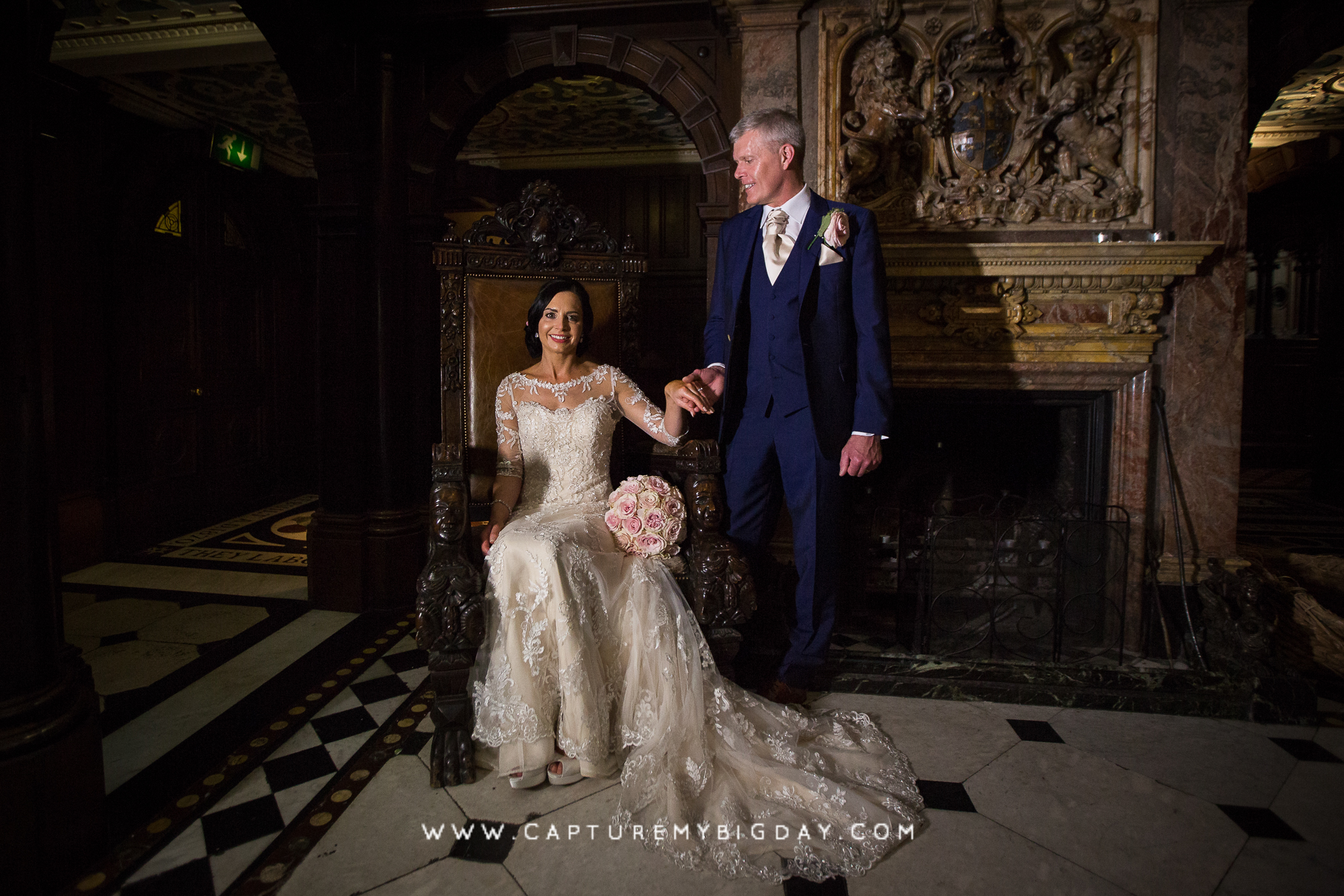 Bride and groom inside crewe Hall