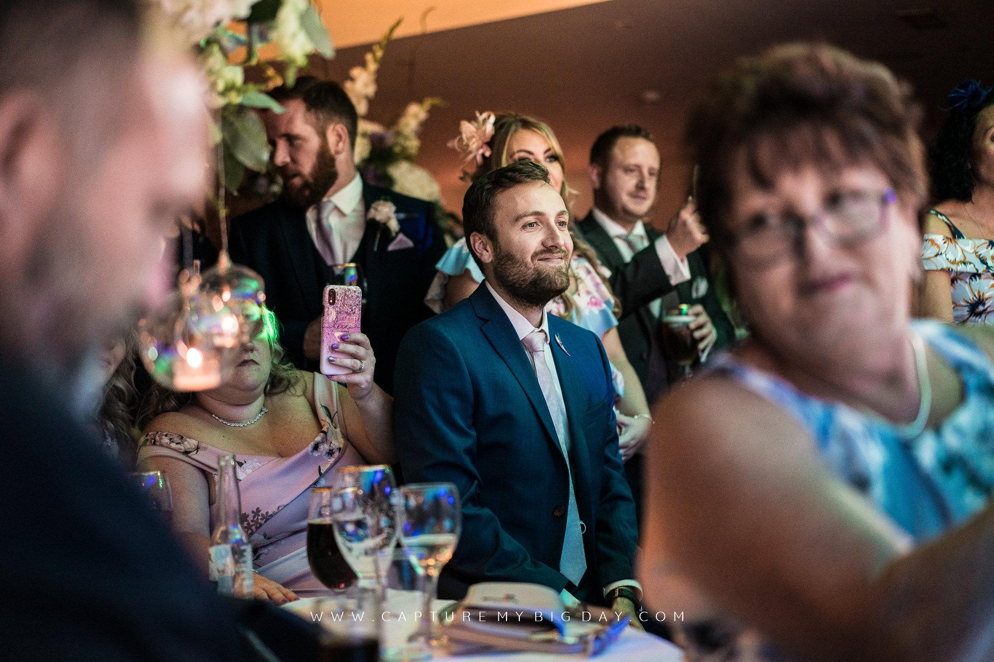 wedding guests at night