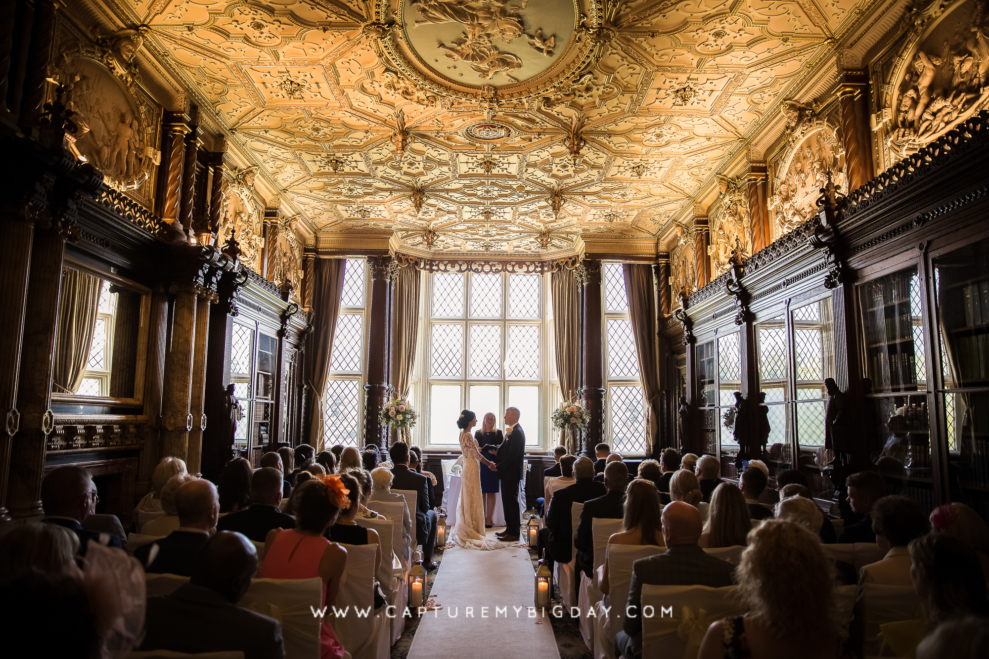 bride and groom in ceremony room at Crewe Hall