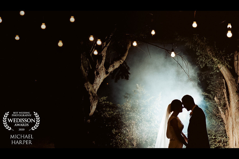 Bride and groom at night time at Wrenbury hall