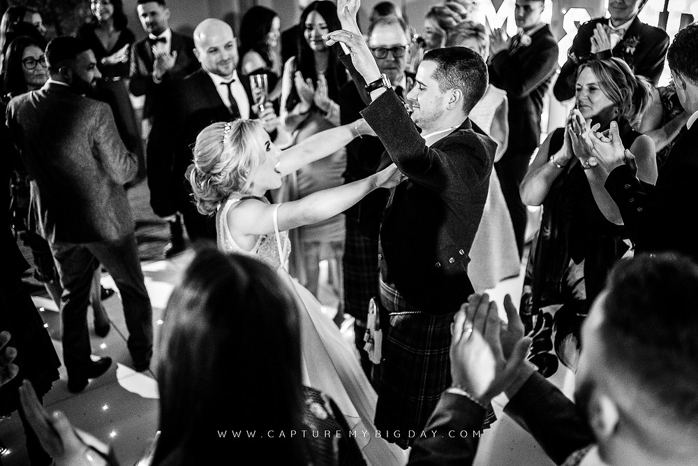 Bride and groom dancing at Wrenbury Hall