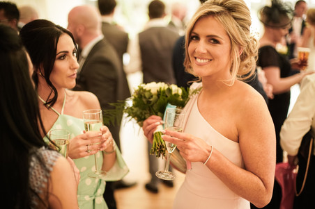 bridesmaid with drink