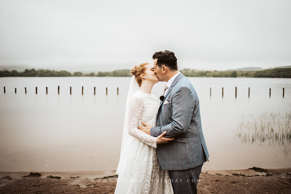 Just Married Kiss near lake at Moor Lough in Northern Ireland