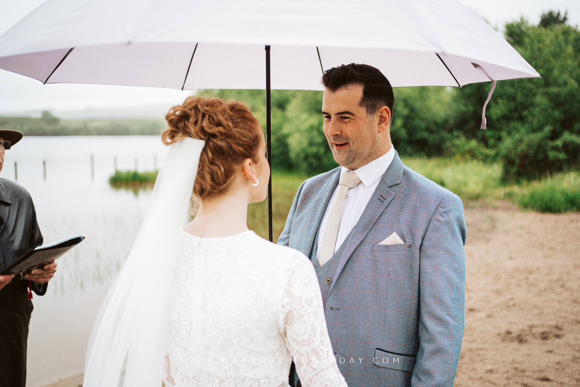 saying vows on beach in northern Ireland