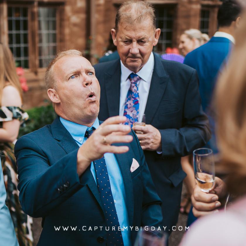 wedding guest making jokes