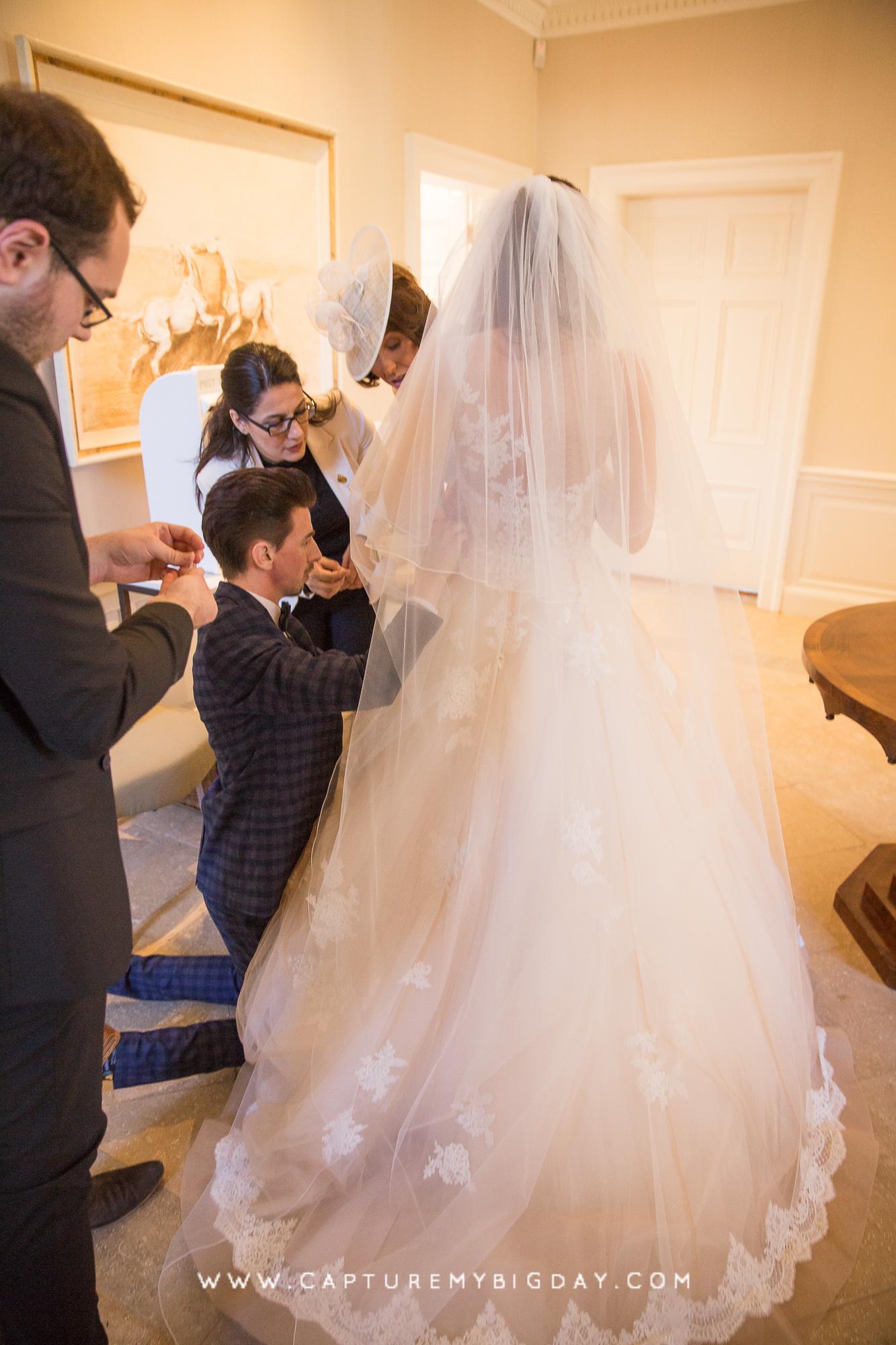 fixing the wedding dress
