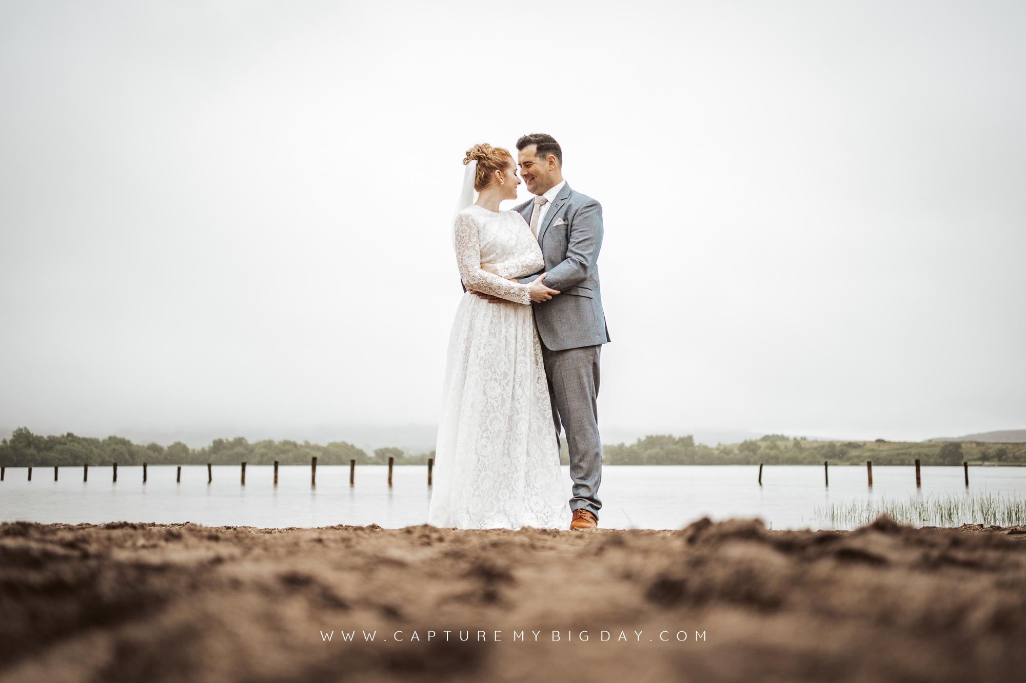 bride and groom lakeside northern ireland