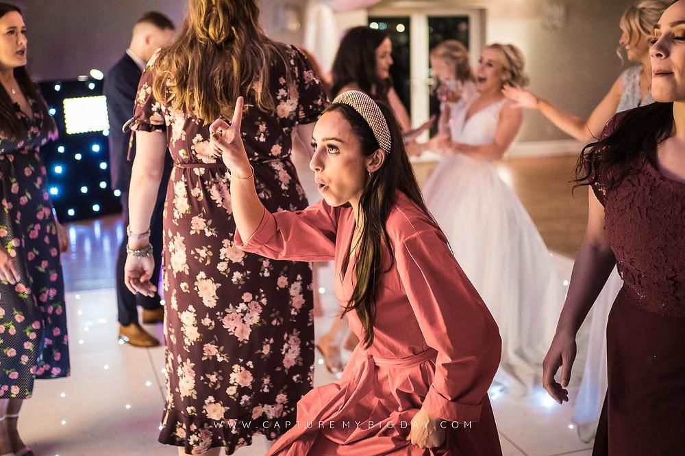 lady on dancefloor at Cheshire wedding