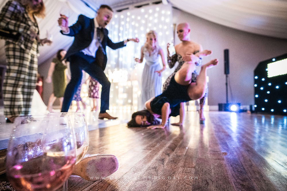 crazy dancing at Cheshire wedding venue