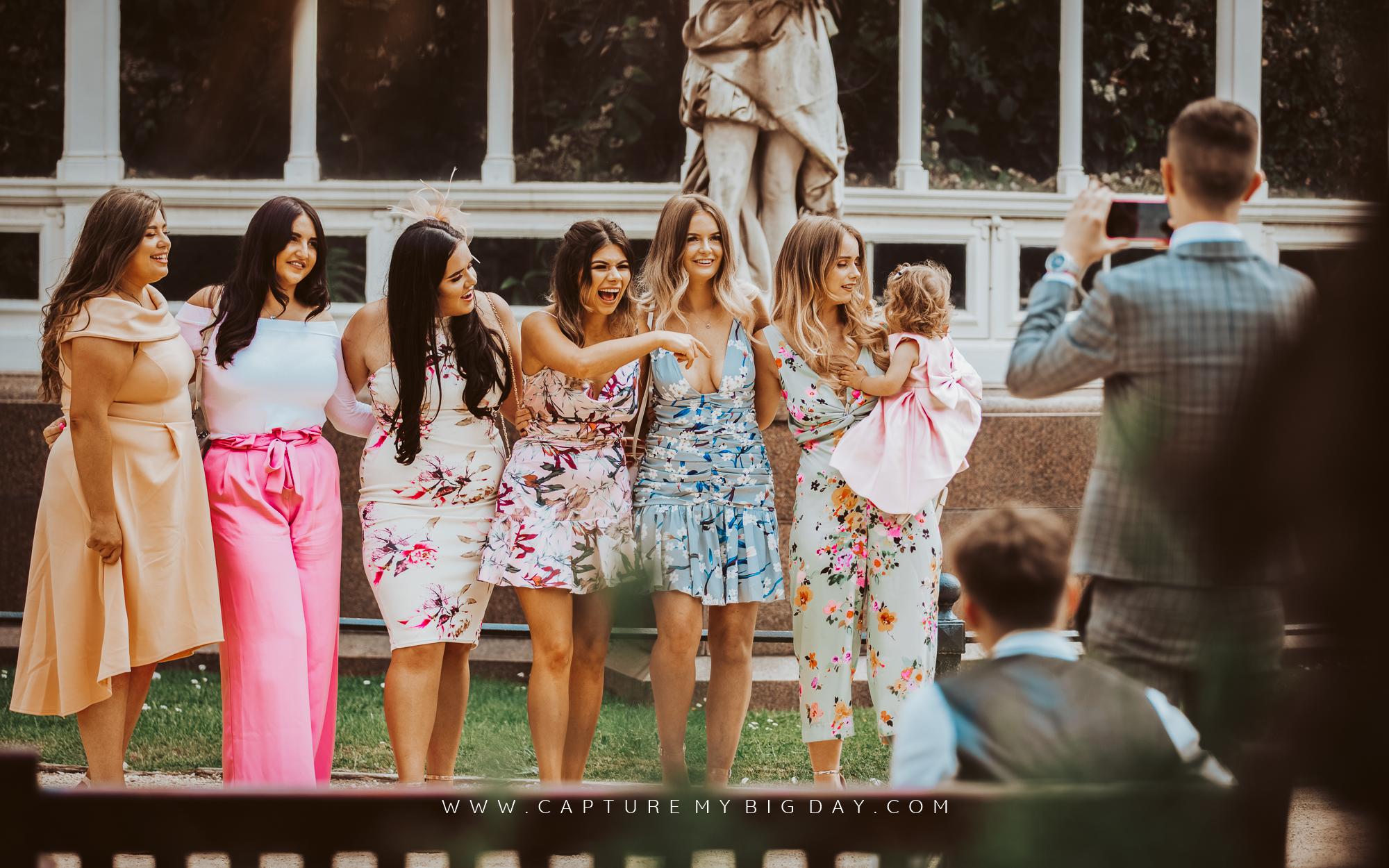 wedding guests at Sefton Park