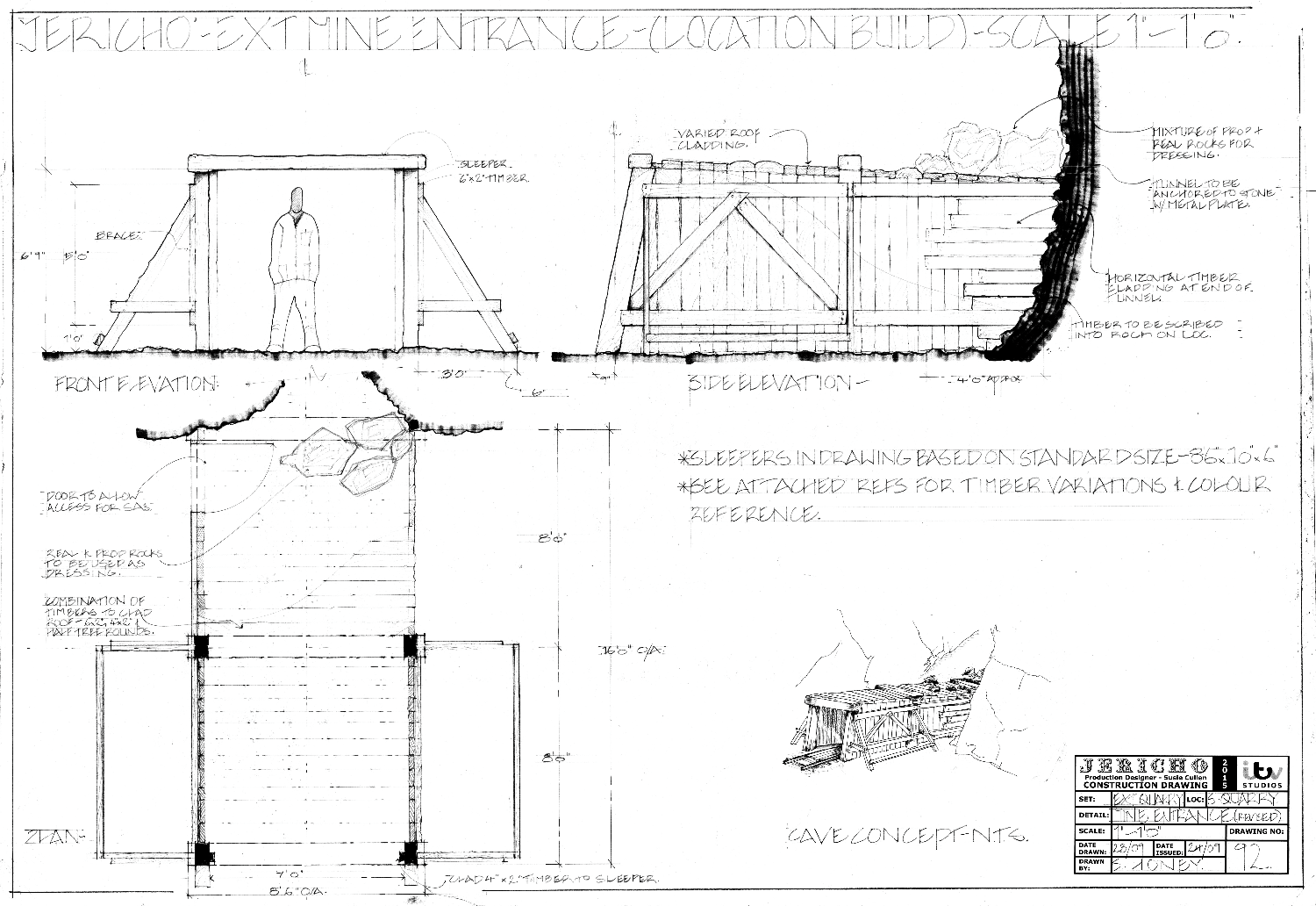 Drawing 92 - V.1.1 Revised Mine Tunnel Entrance - Plan and Elevations_edited