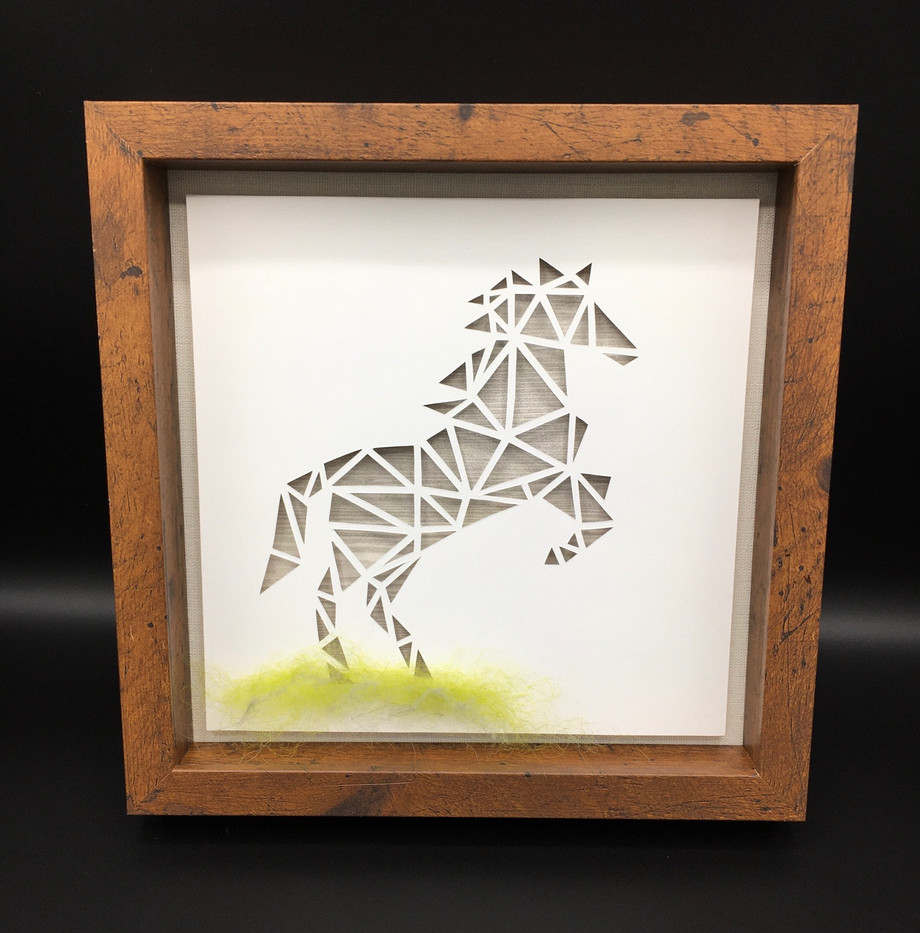 3D Gray Horse in Shadowbox_1