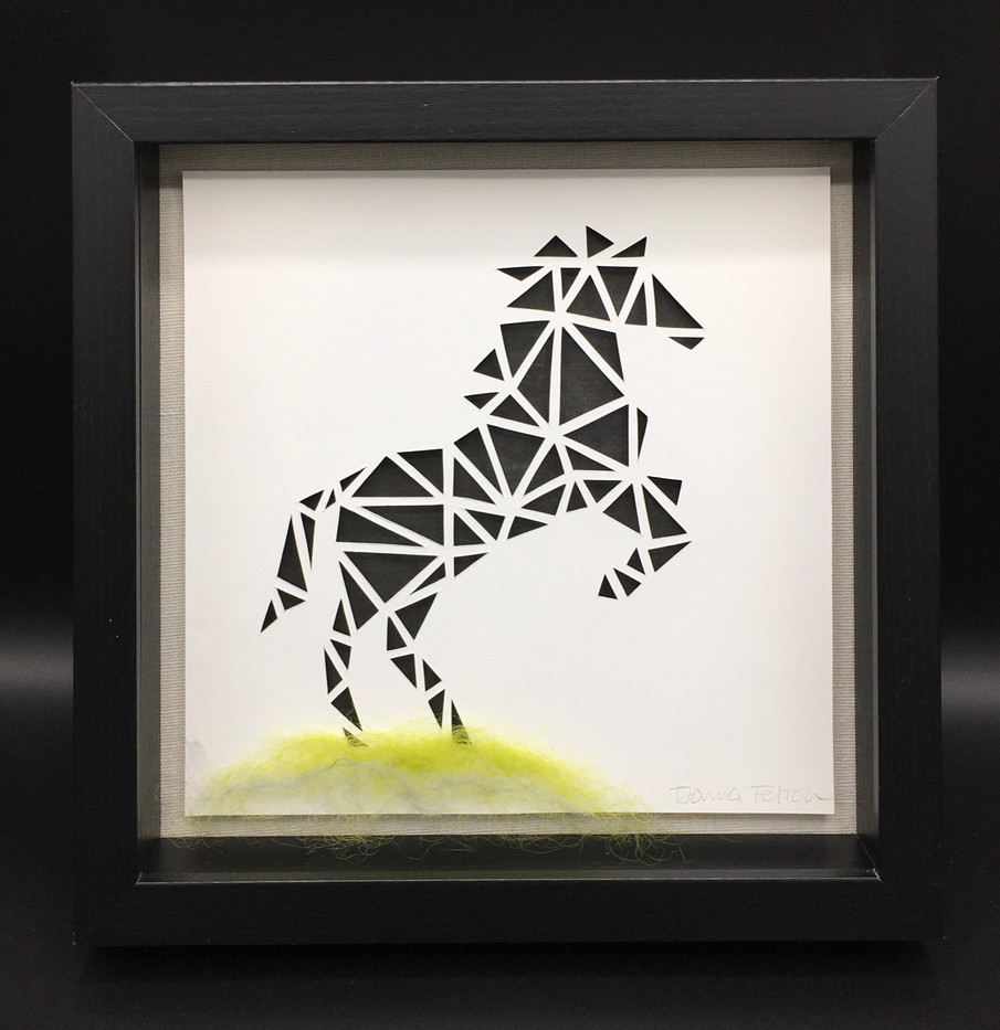 3D Black Horse in Shadowbox_1